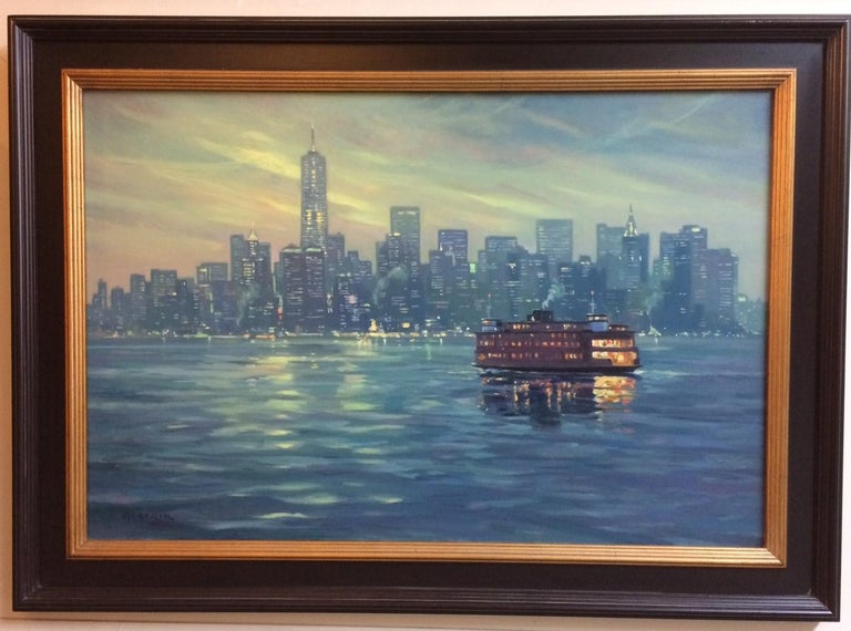Leonard Mizerek Landscape Painting - The Crossing, Staten Island Ferry NYC original 24x36 impressionist landscape