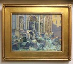 Trevi Fountain, original impressionist Italian landscape