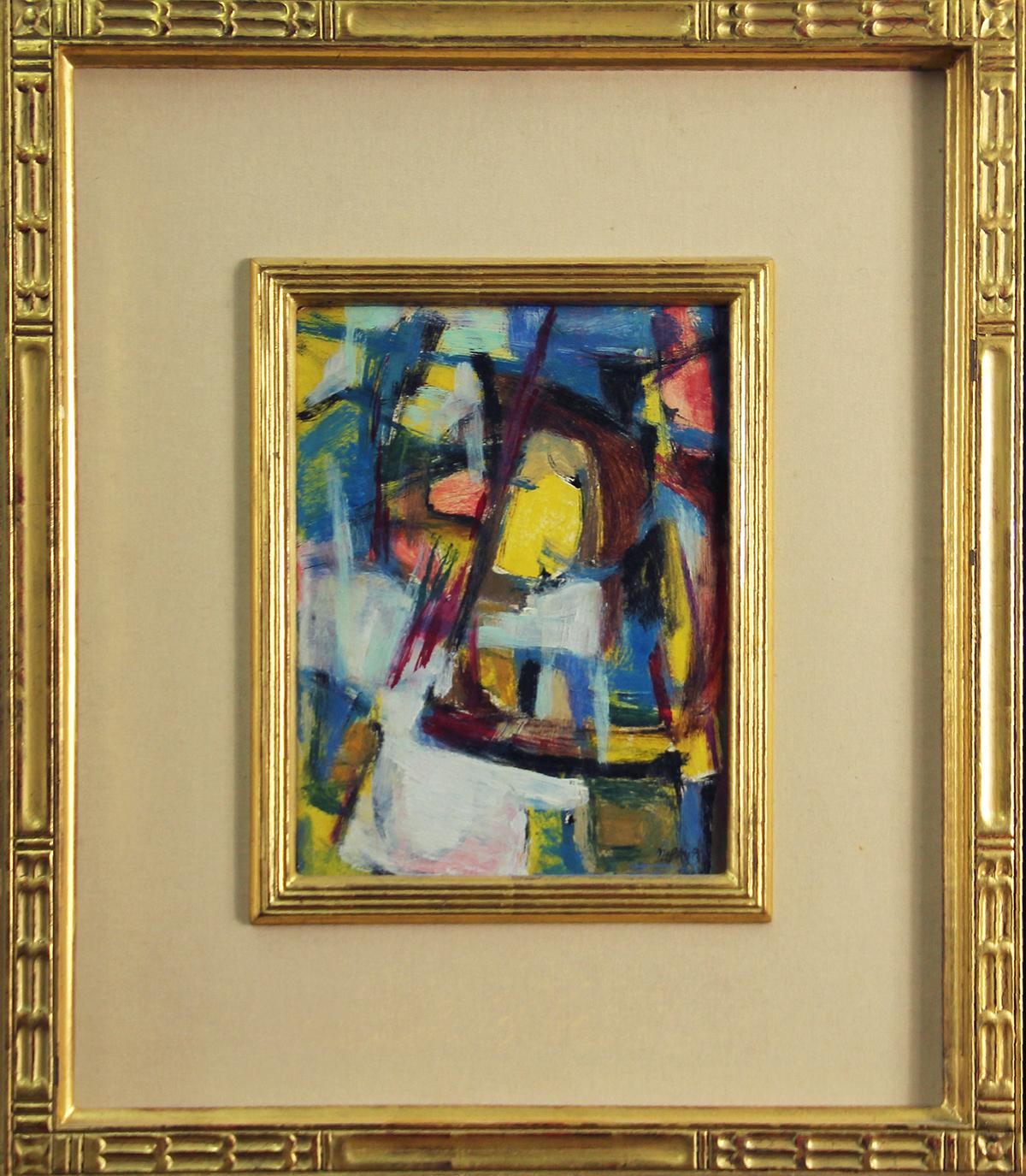 """""""Color Abstract #40"""", American Modernist, Gestural Abstract, Oil on Board, 1955"""