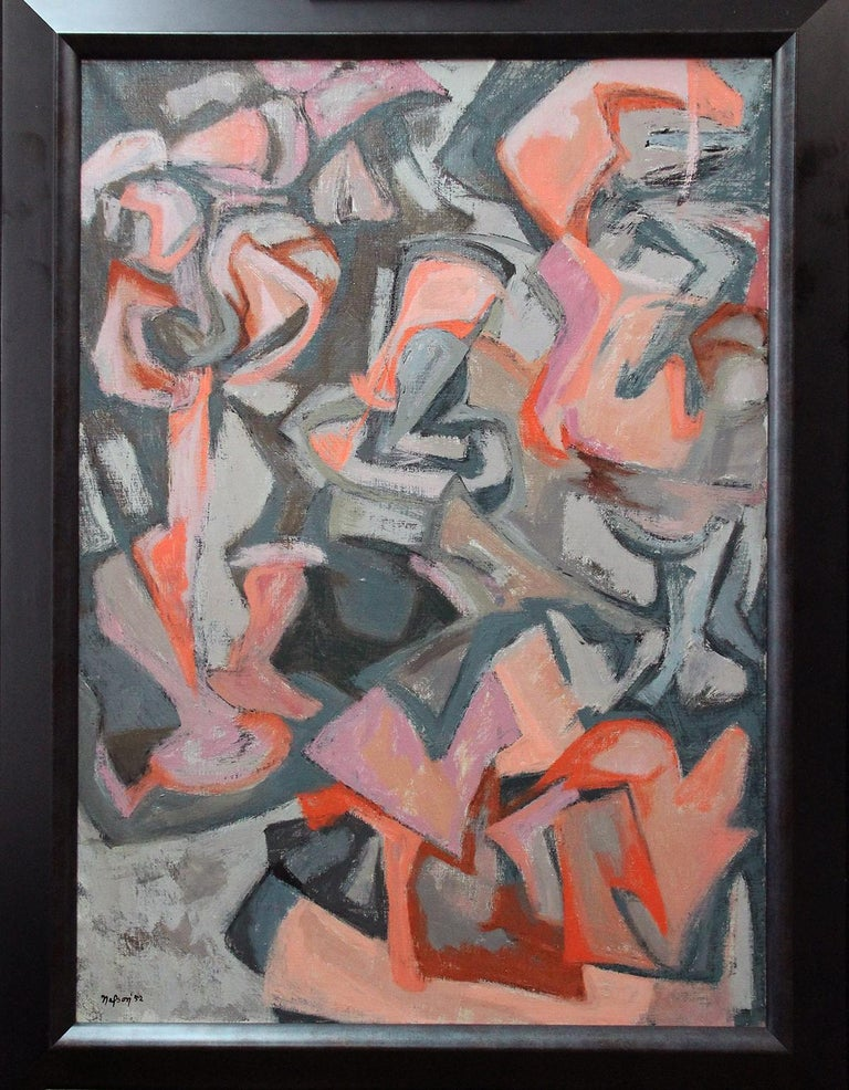 Leonard Nelson (1912 - 1993), Les Competiteurs, 1952, Oil on Canvas - Gray Abstract Painting by Leonard Nelson
