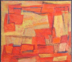 """""""Orange Abstract"""", American Modernist, Gestural Abstract, Oil on Canvas, 1946"""
