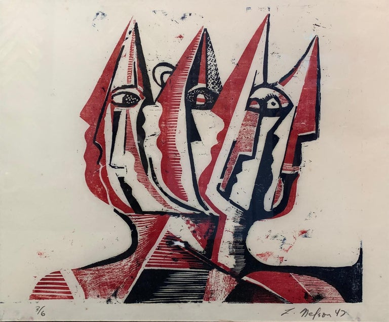 Three Figures, Abstract Figurative Art, Woodblock Print in Red, Signed, 1947 - Beige Figurative Print by Leonard Nelson