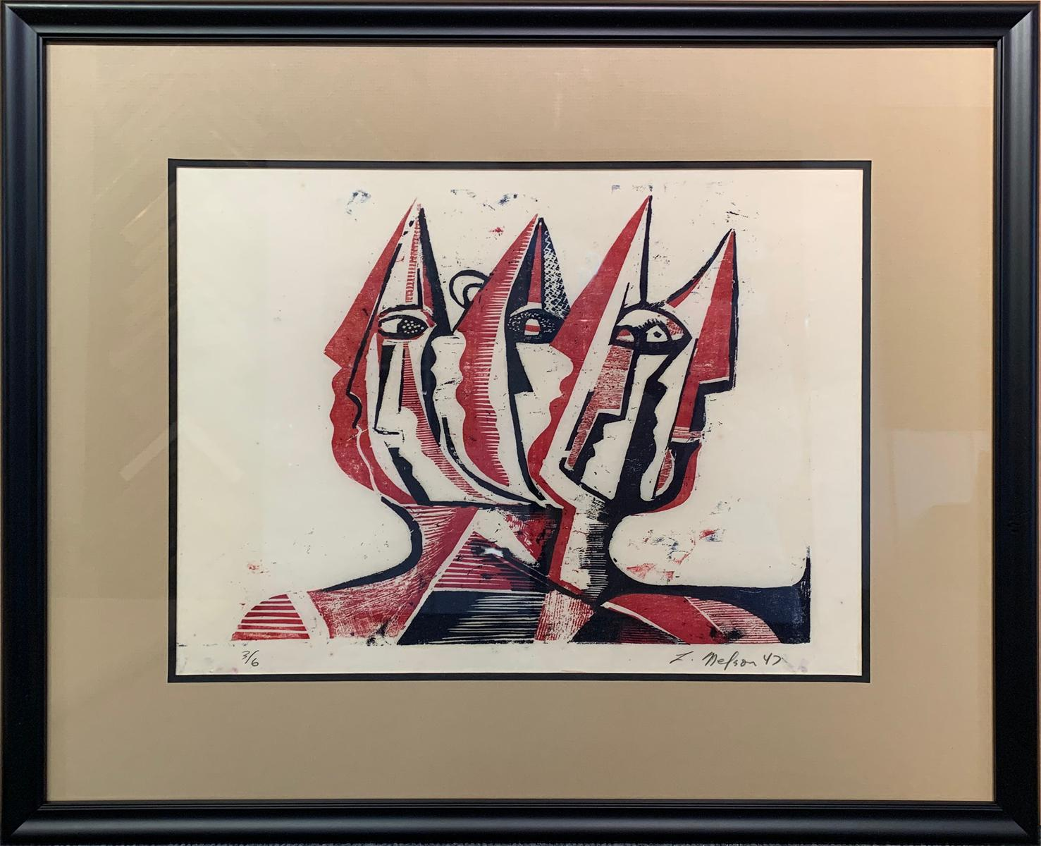 Three Figures, Abstract Figurative Art, Woodblock Print in Red, Signed, 1947