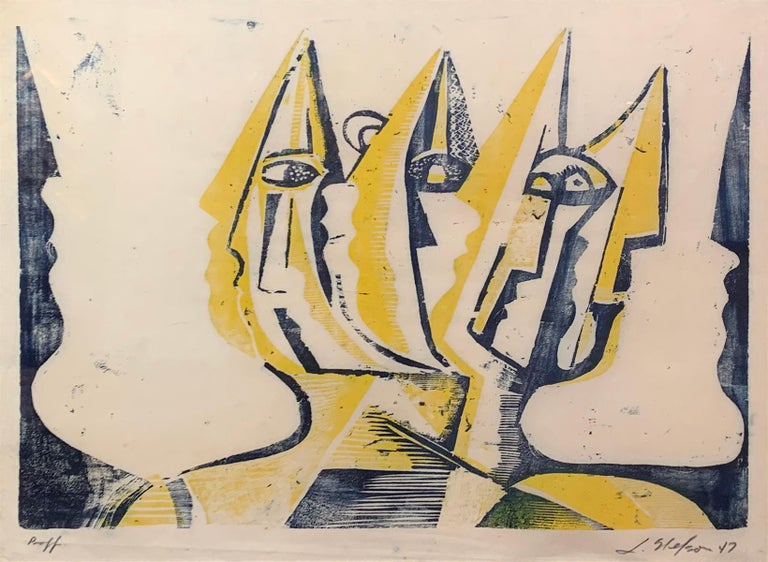 Three Figures, Abstract Figurative Art, Woodblock Print in Yellow, Signed, 1947 - Beige Abstract Print by Leonard Nelson