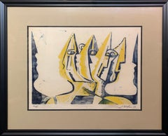 Three Figures, Abstract Figurative Art, Woodblock Print in Yellow, Signed, 1947