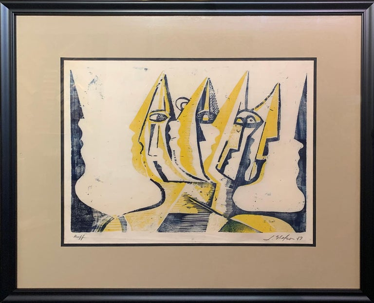 Leonard Nelson Abstract Print - Three Figures, Abstract Figurative Art, Woodblock Print in Yellow, Signed, 1947
