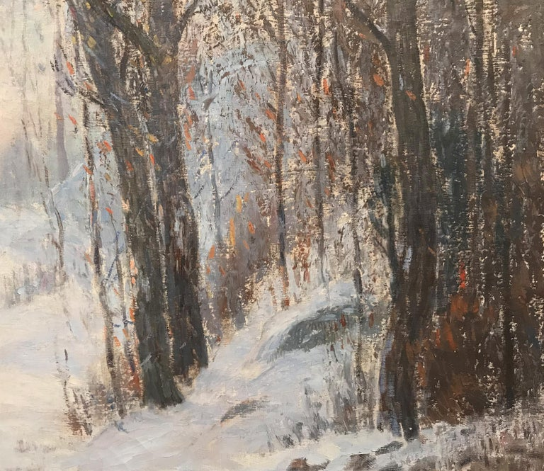Sunlight Through The Trees - Brown Landscape Painting by Leonard Ochtman