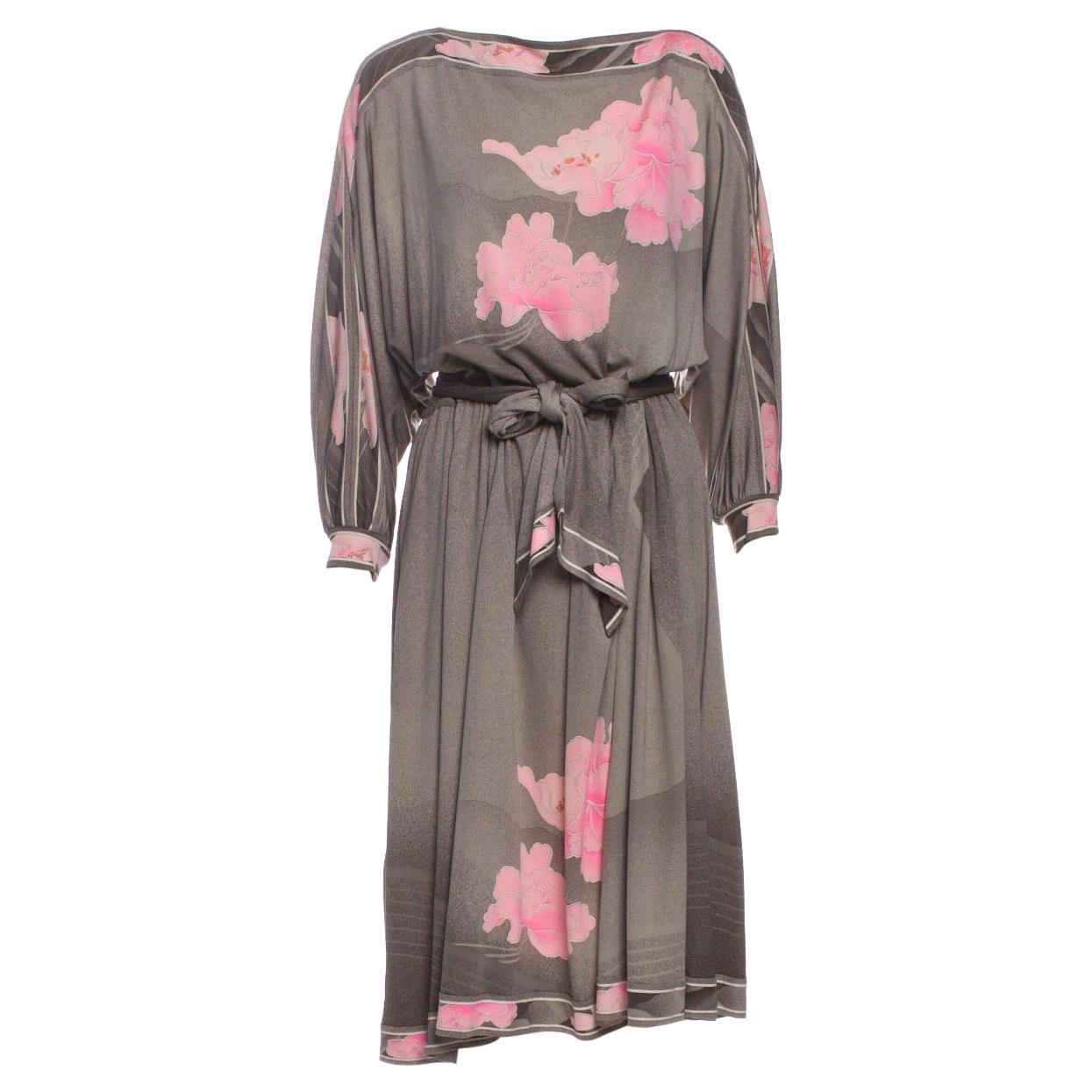 Leonard Paris 1970s Floral Print Silk Jersey Dress