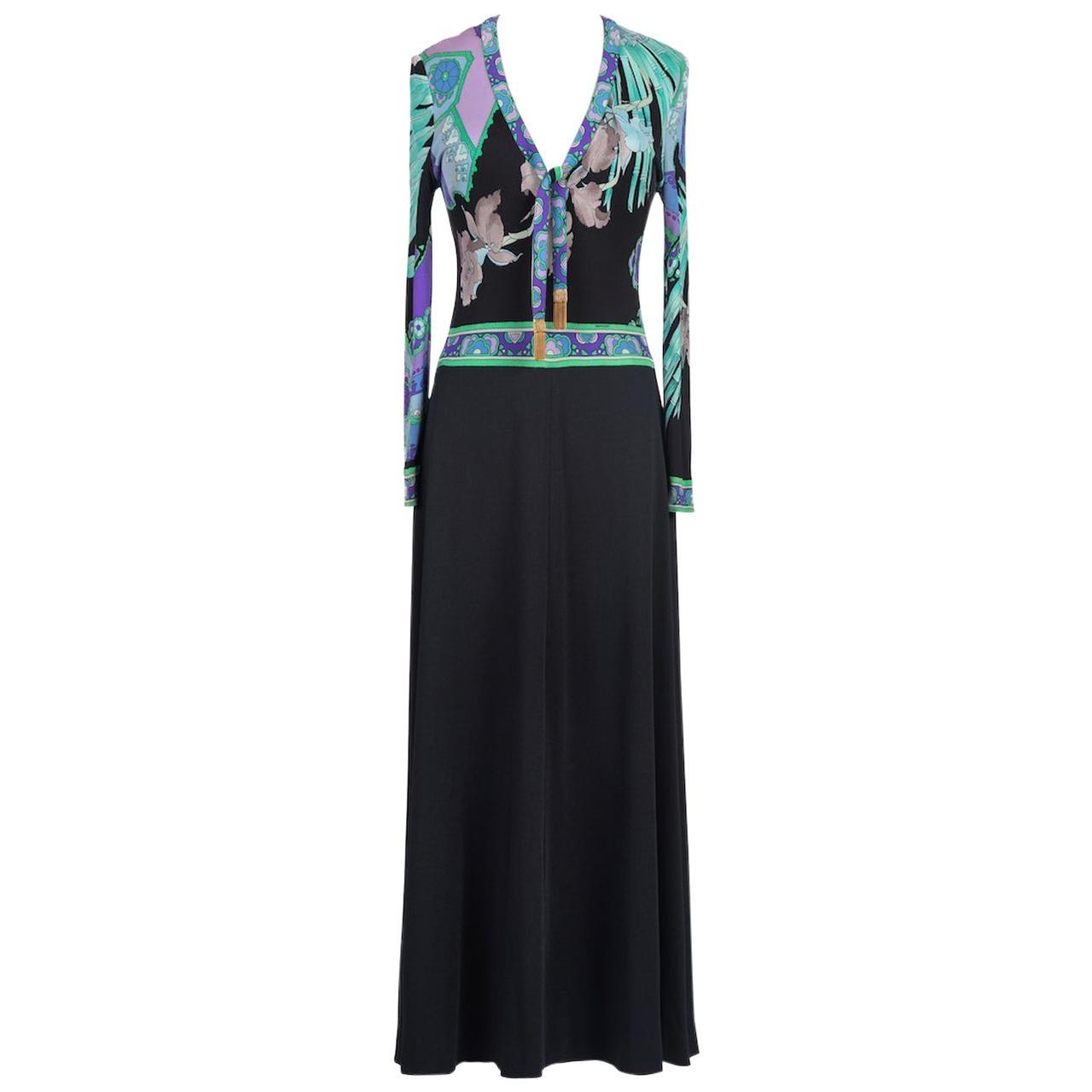 LEONARD Paris Black, Aqua & Purple Floral Print Silk Tie Neck Maxi Dress, 1970s