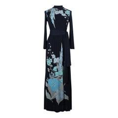 Leonard Paris Black & Blue Floral Print Silk Jersey Maxi Dress, 1970s