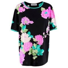 Leonard Paris Black Silk Floral Top - Size US 12