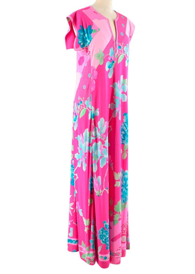 Leonard Paris Bright Pink Floral Maxi Dress  - Full length Pink, Blue and Green Floral dress - Open sleeves - V neck with invisible hook fastenings  - Exposed light blue thread - Pockets   Material 100% Silk  Dry Clean Only   Made in Italy   Please