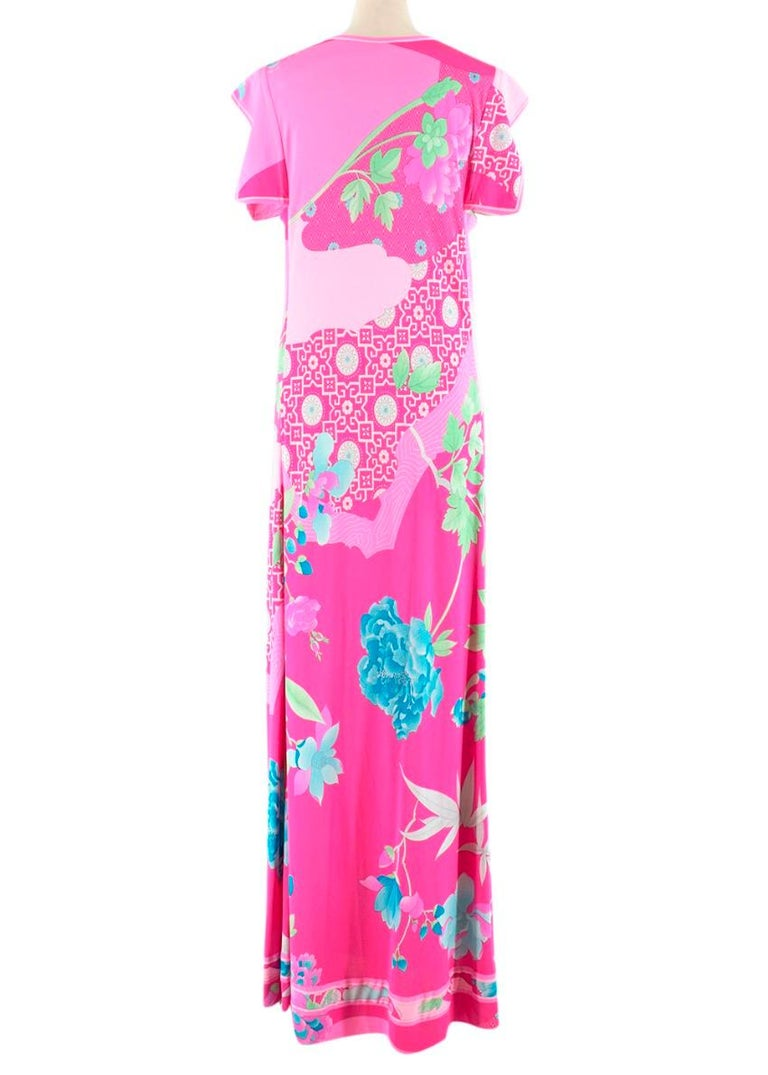 Leonard Paris Bright Pink Printed Maxi Dress S 42  In New Condition In London, GB