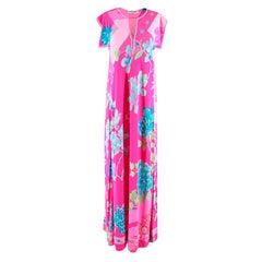 Leonard Paris Bright Pink Printed Maxi Dress S 42