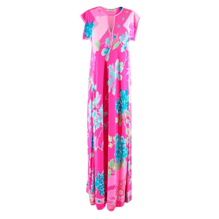 Leonard Paris Bright Pink Printed Maxi Dress S 42