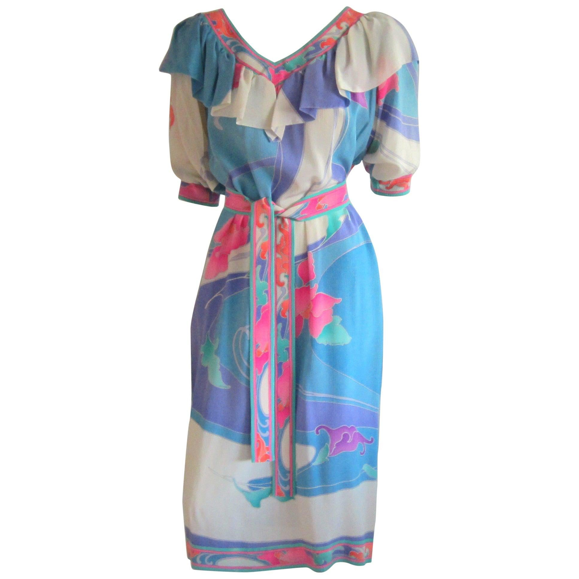 Leonard Paris Floral Print Shift Style Dress Made in France 1980s