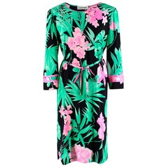 Leonard Paris Floral Textured Knee Length Dress L