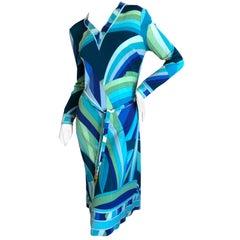 Leonard Paris for Bergdorf Goodman 1970's Silk Jersey Dress with Belt
