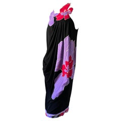 Leonard Paris Jersey Vintage Draped Black Dress with Applique Floral Neckline