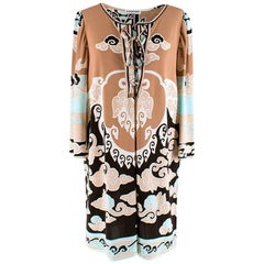 Leonard Paris Light Brown Abstract Pattern dress L 46 IT