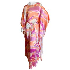 Leonard Paris Long Colorful Silk Tie Front Caftan Style Evening Dress