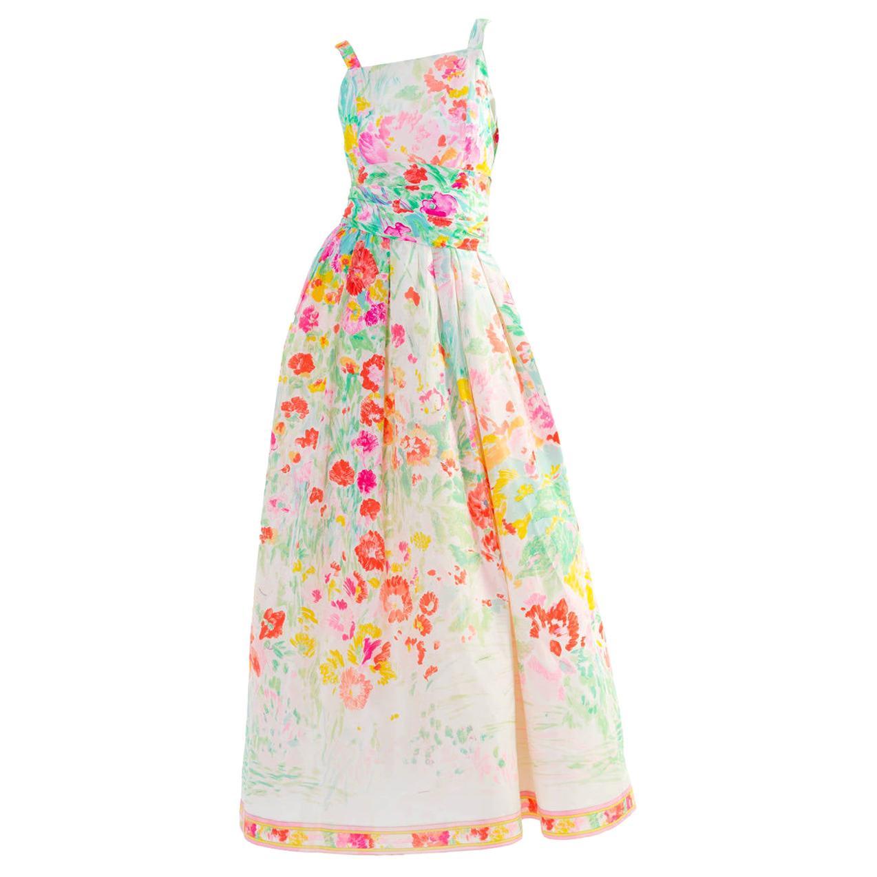 Leonard Paris Multicolor Florals Silk Sleeveless Maxi Dress Gown, 1990s