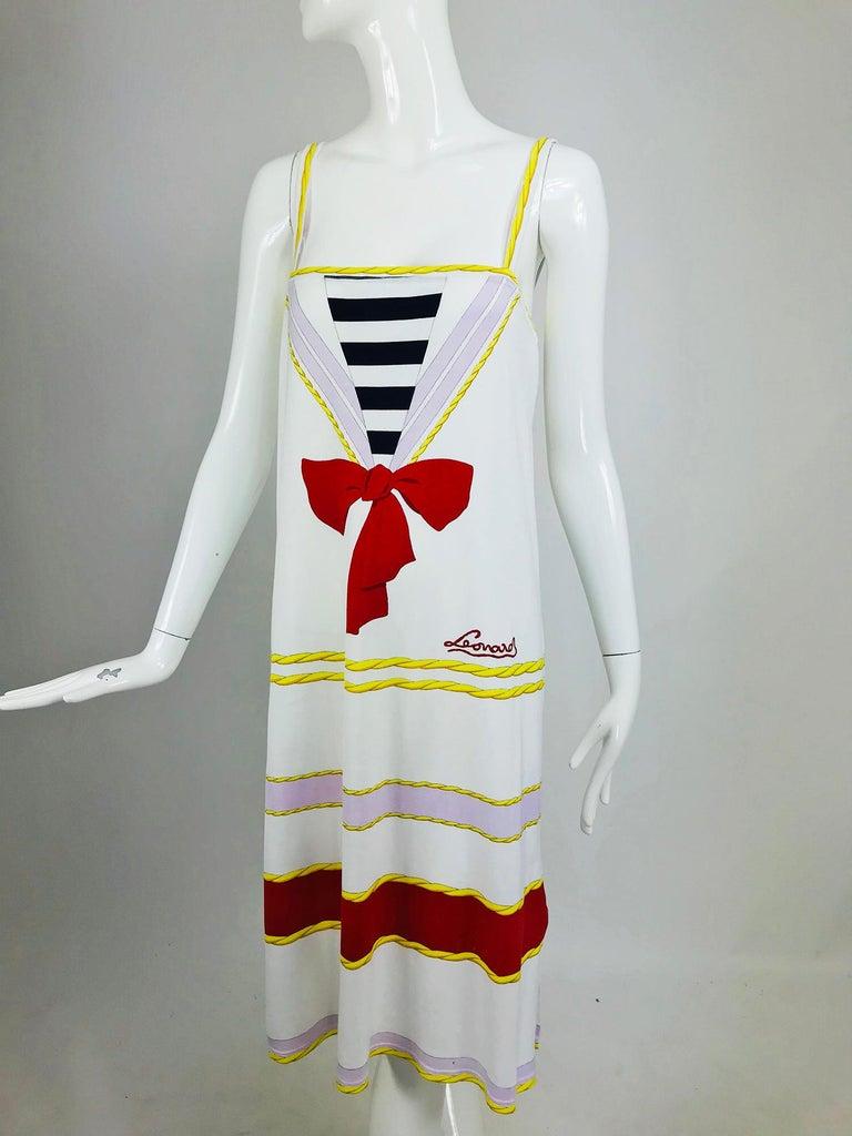 Leonard Paris Novelty Printed Cotton Knit Sun Dress 1980s For Sale 5