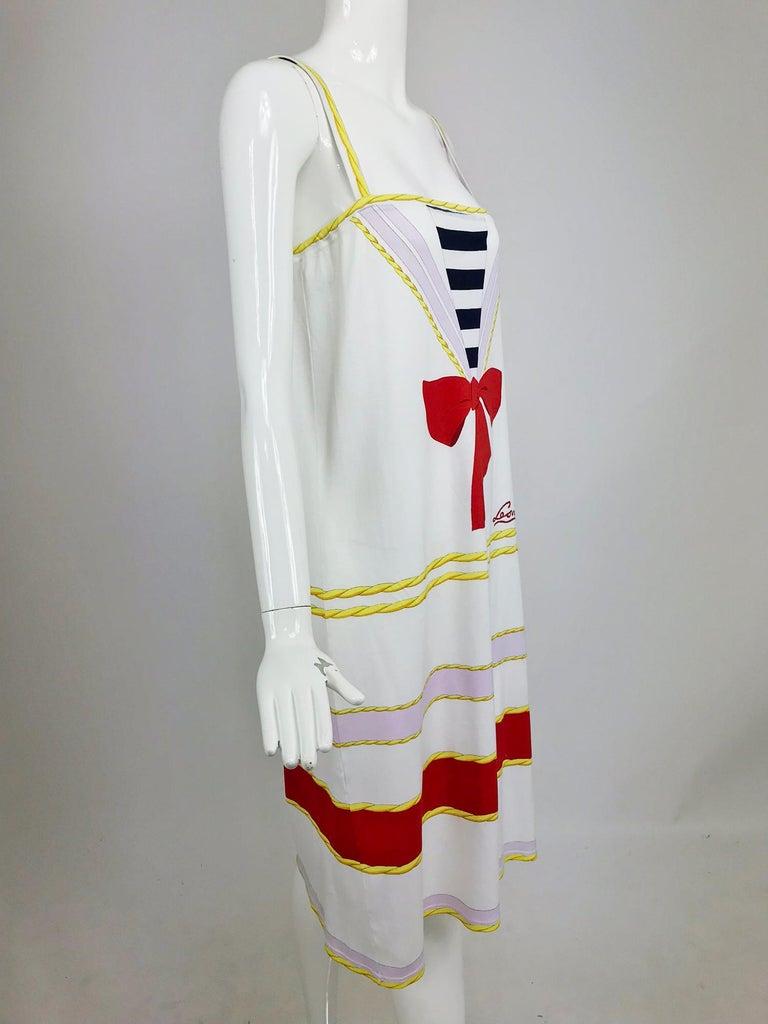Gray Leonard Paris Novelty Printed Cotton Knit Sun Dress 1980s For Sale