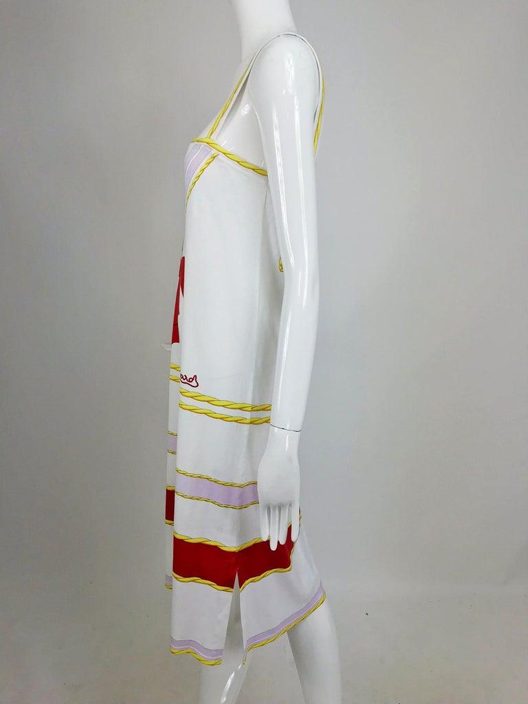 Leonard Paris Novelty Printed Cotton Knit Sun Dress 1980s For Sale 3