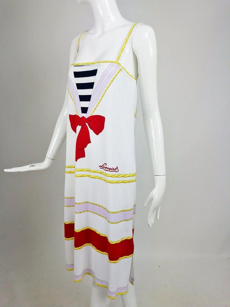 Leonard Paris Novelty Printed Cotton Knit Sun Dress 1980s For Sale 4
