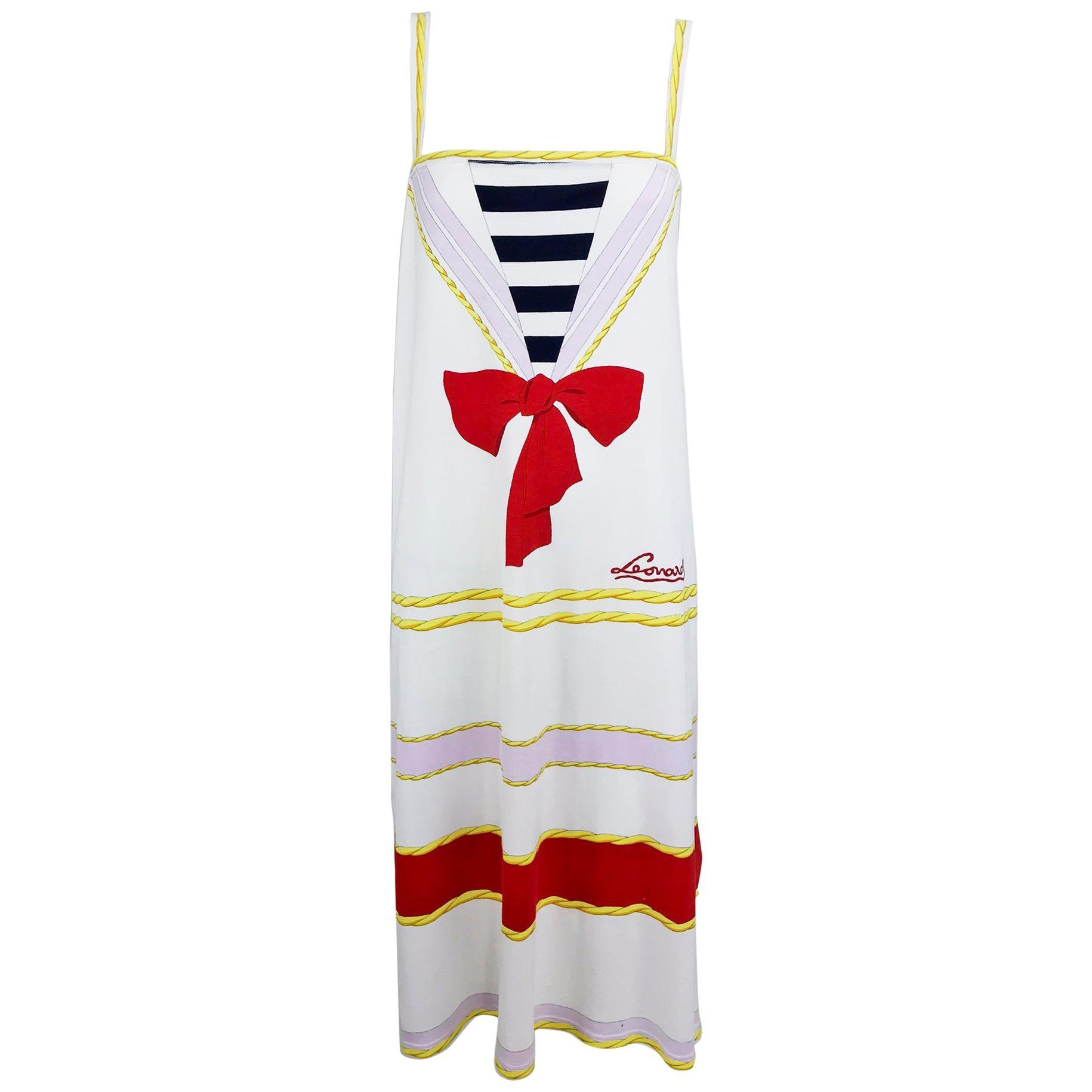 Leonard Paris Novelty Printed Cotton Knit Sun Dress 1980s