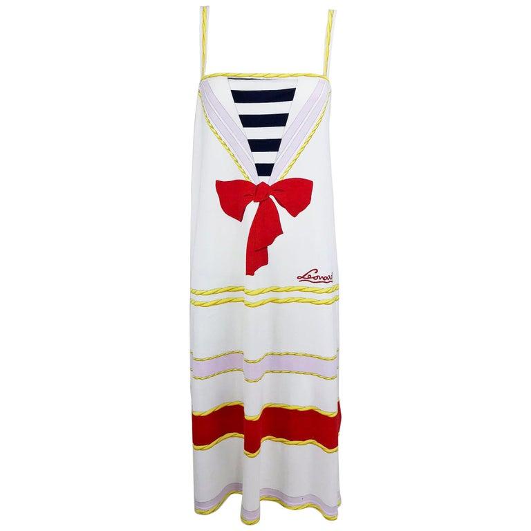 Leonard Paris Novelty Printed Cotton Knit Sun Dress 1980s For Sale