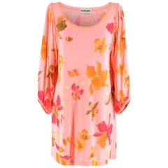Leonard Paris Pink Floral Scoop Neck Mini Dress M 44