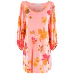 Leonard Paris Pink Floral Scoop Neck Mini Dress - Size US 10
