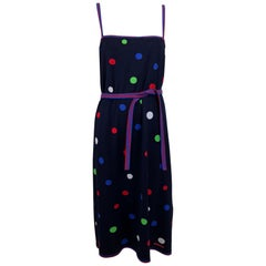 Leonard Paris Polka Dot Cotton Knit Sun Dress