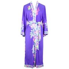 Leonard Paris Purple Floral Print Dressing Gown Kimono Caftan Lingerie, 1970s