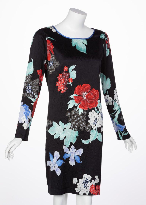 Black Leonard Paris Silk Floral Print Dress, 2000s For Sale