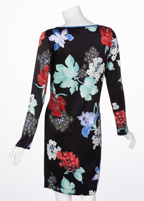 Leonard Paris Silk Floral Print Dress, 2000s In Excellent Condition For Sale In Boca Raton, FL