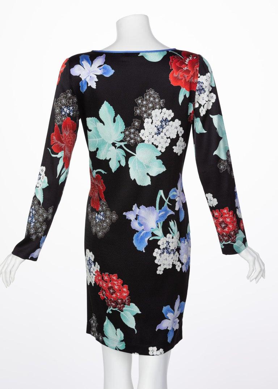 Women's Leonard Paris Silk Floral Print Dress, 2000s For Sale