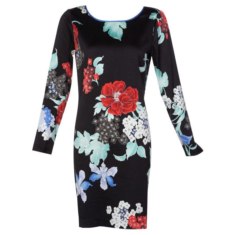 Leonard Paris Silk Floral Print Dress, 2000s For Sale