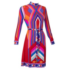 Leonard Paris Silk Jersey Graphic Printed Dress with belt, 1970s