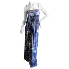Leonard Paris Silk Jersey Unusual Vintage Long Evening Dress with Fringe