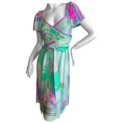 Leonard Paris Silk Jersey Vintage Floral Wrap Style Cap Sleeve Dress