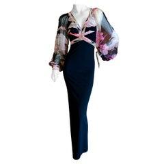 Leonard Paris Silk Jersey Vintage Long Evening Dress with Sheer Poet Sleeve