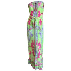 Leonard Paris Silk Jersey Vintage Strapless Long Floral Dress with Sash Tie