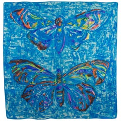Leonard Paris Silk Scarf Blue Butterflies