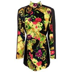 LEONARD PARIS Size 2 Black & Yellow Floral Print Wool Jersey Mock Neck Dress