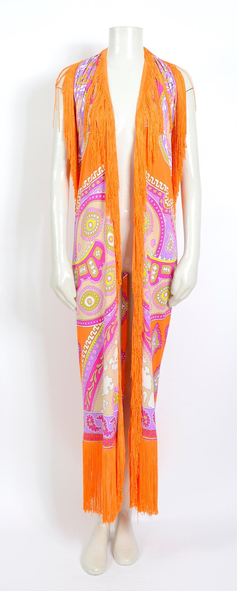 Leonard Paris vintage 1970s extra large silk jersey printed fringed scarf For Sale 3