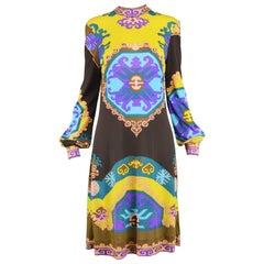 Leonard Paris Vintage 1970s Long Sleeve Purple, Yellow & Teal Jersey Shift Dress