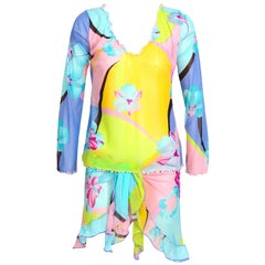 Leonard Paris vintage signed top and pareo beach set.
